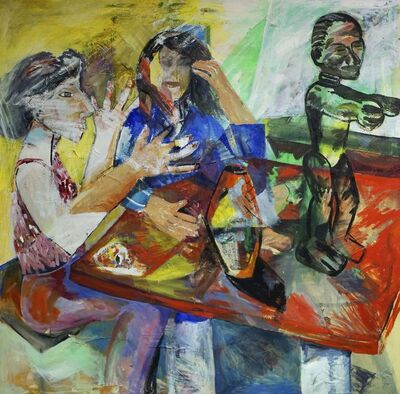 Carol Gorner, 'Self-portrait with Tina Leith and sculpture'