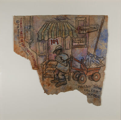 Aminah Brenda Lynn Robinson, 'Timelessness of Life Series: Paperboy Sells Call and Post Newspaper', 1982