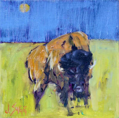 Janice Sugg, 'Contemporary Wildlife Painting 'Moonlit Bison I' Abstract Impressionist Animal Art', 2017
