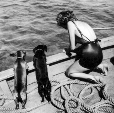 Toni Frissell, 'Model with Two Daschunds', ca. 1940