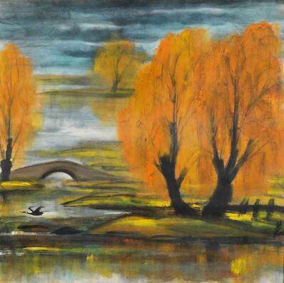 Lin Fengmian, 'Flying Duck in Landscape'