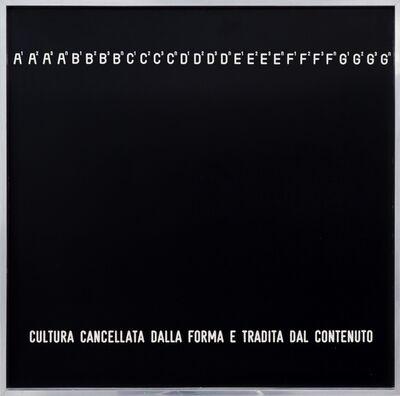 Vincenzo Agnetti, 'Cultura cancellata dalla forma e tradita dal contenuto', 1970