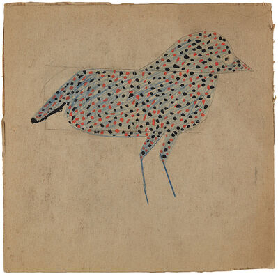 Bill Traylor, 'Spotted Black and Red Bird (AKA Blue Spotted Bird)', 1939-1942