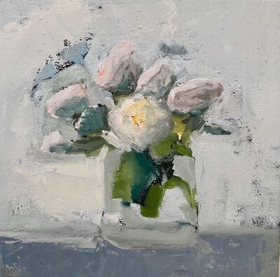 "Anne Harney, '""Whites"" oil painting of white roses in a vase', 2018"