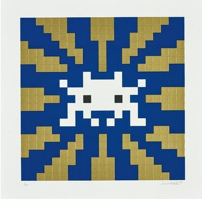 Invader, 'Sunset (Gold and Blue)', 2018