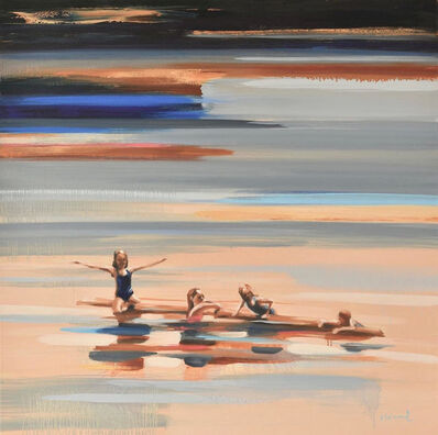 "Elizabeth Lennie, '""Ordinary Miracles"" Oil painting of kids floating in a lake in browns, grays and blues', 2019"