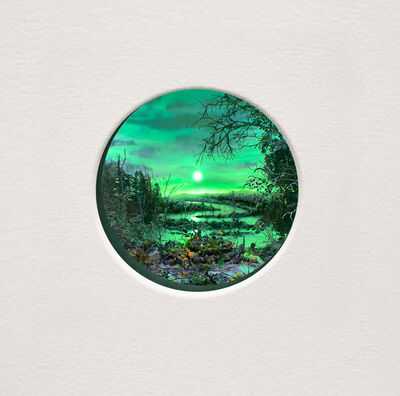 Patrick Jacobs, 'Purple Swamp with Moon (Diorama viewed through 2 inch window)', 2019