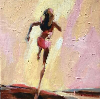 Elizabeth Lennie, '''Restless Heart'' Oil painting of women running in bikini with neutral pink background', 2019