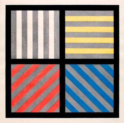 Sol LeWitt, 'Lines in Four Directions, with Alternating Color and Gray Bands', 1993