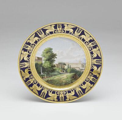 Sèvres Porcelain Manufactory, 'Assiettes du service des vues diverses : Vue du Museum du Belvédère à Rome (Plate with different views (part of service): View of Belvedere Museum from Rome)'