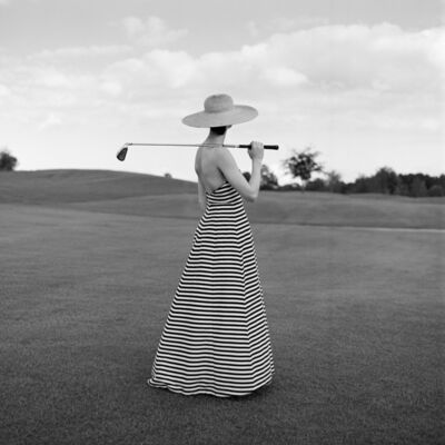 Rodney Smith, 'Caroline Golfing in Striped Dress, St. Augustine, Florida', 2002
