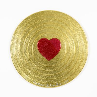 Peter Blake, 'Red heart on gold Target (metal flake)', 2017