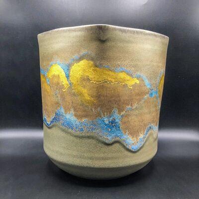 Taniguchi Ryōzō, 'Japanese  Vase with gold and blue', 20th Century