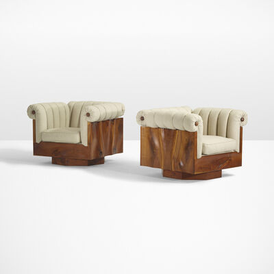 Phillip Lloyd Powell, 'Rare carved panel lounge chairs, pair', c. 1970