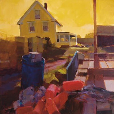 Connie Hayes, 'Yellow House and Lobstering Gear, Vinalhaven'