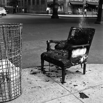 Vivian Maier, '0120547- New York, NY July 23, 1954 Burnt Chair'