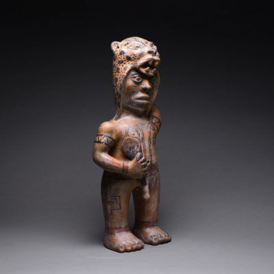 Unknown Pre-Columbian, 'Standing Male With Jaguar Skin Headdress ', 500-800