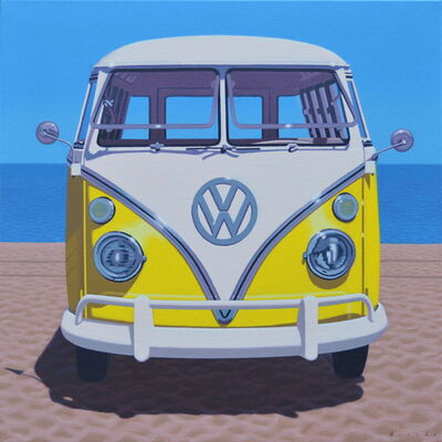 """Rob Brooks, '""""Sunny Samba"""" Oil painting of a yellow vintage Volkswagen bus on the beach', 2020"""