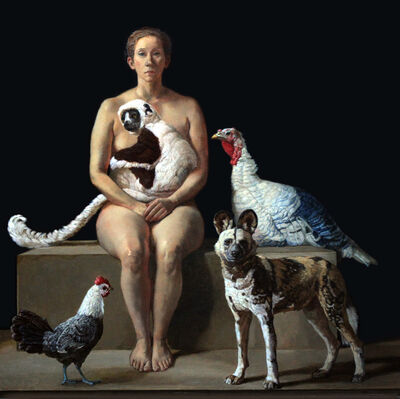 Patricia Traub, 'Rescuer With A Lemur, African Wild Dog, Two Rare Poultry', 2019