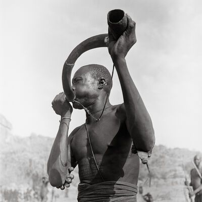 George Rodger, 'A warrior sounds the native namogo horn', 1948
