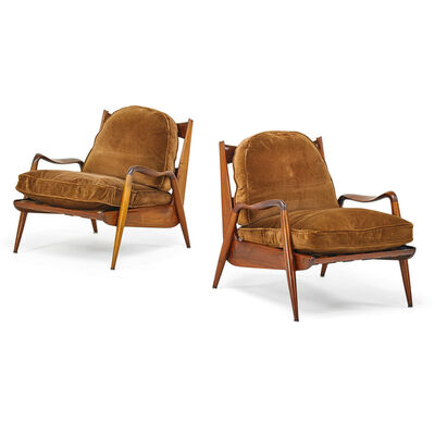 Phillip Lloyd Powell, 'Pair Of New Hope Lounge Chairs, New Hope, PA', 1960s
