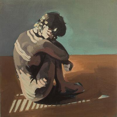 Ingrid Capozzoli Flinn, 'Nude in Ball on Floor with Striped shadow', 2016