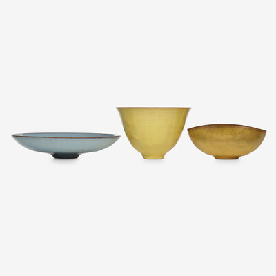 Gertrud Natzler, 'collection of three vessels', 1952