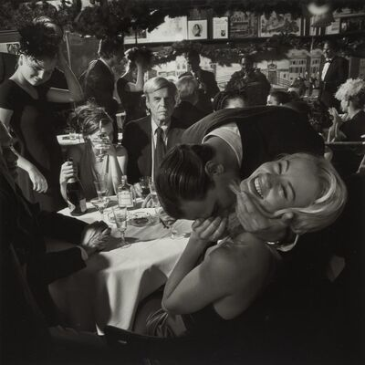 Larry Fink, 'George Plimpton, Jared Paul Stern, and Cameron Richardson, Fashion Shoot, Elaine's, New York City, Janurary', 1999