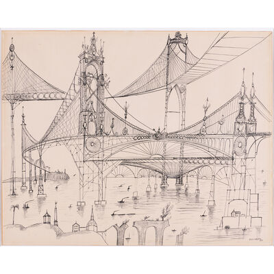 Saul Steinberg, 'Bridge n°132', 1953