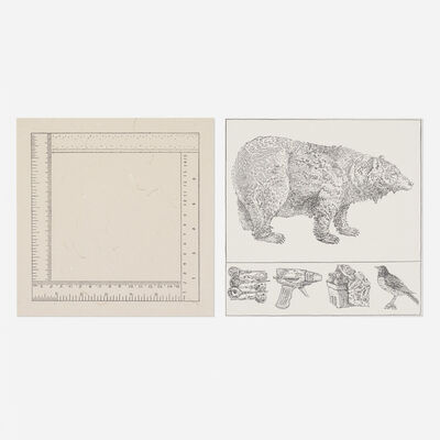 Don Nice, 'two works from the Rubber Stamp Portfolio', 1976
