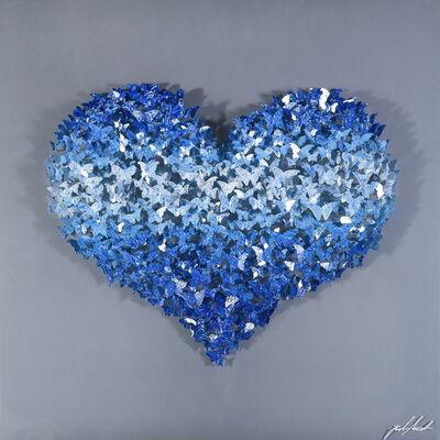 Joel Amit, 'Flying Love - Shades of Blue Butterflies on Silver'