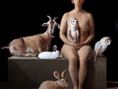 Patricia Traub, 'Rescuer with Owls, Rabbits, and a Feral Goat', 2017
