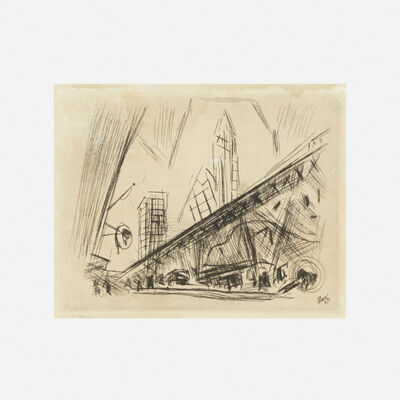 John Marin (1870-1953), 'Downtown New York, the El', 1921