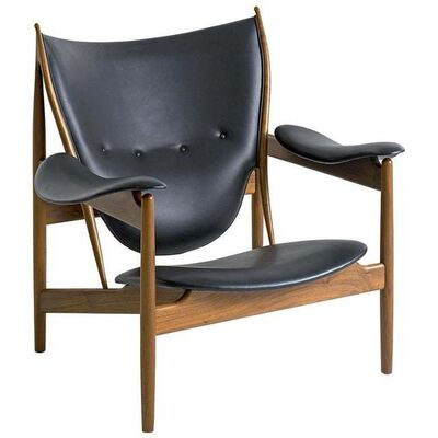 Finn Juhl, 'Finn Juhl Chieftain Armchair Walnut, Leather Elegance Black', Contemporary