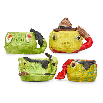 """David Gilhooly, 'Four Frog Tobiis mugs, California, 1970: """"The Suicide,"""" """"The Pirate,"""" """"The Mountie,"""" """"The Pirate""""', 1970"""