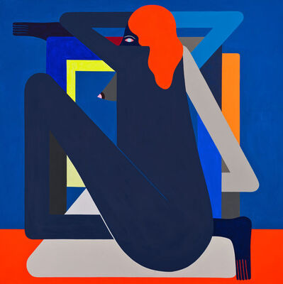 Richard Colman, 'Complicated Figure (Blue) on (Red)', 2016