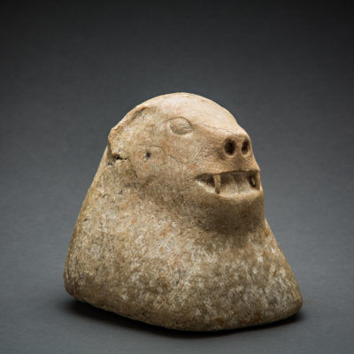 Near Eastern, 'Central Asian Stone Sculpture of an Animal's Head', 1500 BCE-900 BCE