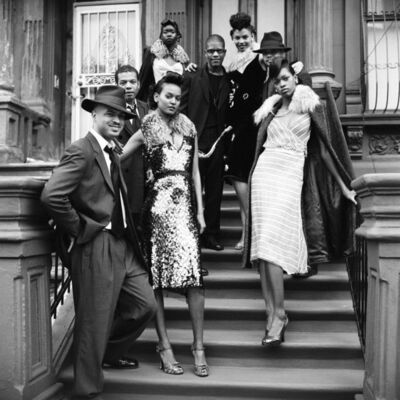Arthur Elgort, 'Pianist Jason Moran, guitarist Mark Whitfield, saxophonist David Sánchez, and the band leader Paul Ellington, with models wearing outfits by Prada', 2000