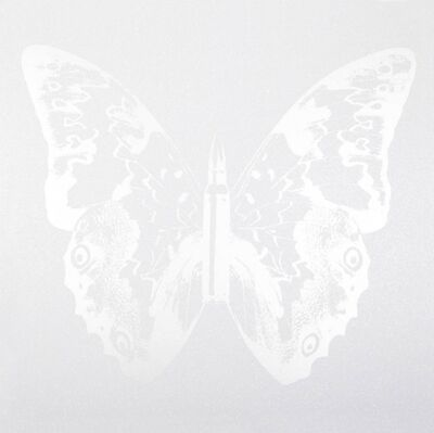 Rubem Robierb, 'Silver Butterfly on White II'