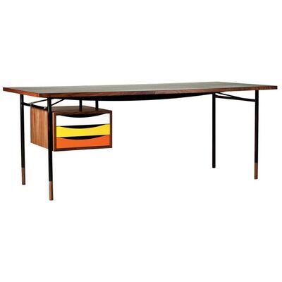 Finn Juhl, 'Finn Juhl Nyhavn Desk Walnut Black Lino Warm Colorway Orange White Yellow, 1945', Contemporary