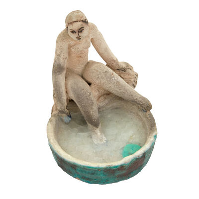 Max Laeuger, 'Painted and Glazed Earthenware Figure of a Nude Bather', 1934
