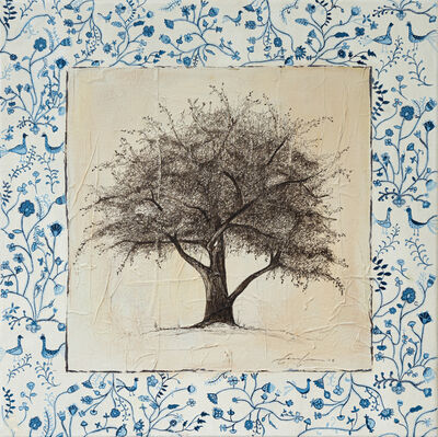 Cecilia Villanueva, 'England 1781, Painting inspired in an old British blue embroidery of flora and peacocks, the rich texture was obtained by using tea bags the artist collects when having tea with friends and family', 2014