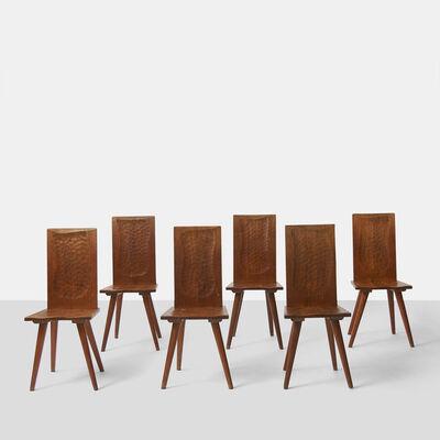 Jean Touret, 'Jean Touret Wood Back Chairs for Atelier Marolles', 1950-1959