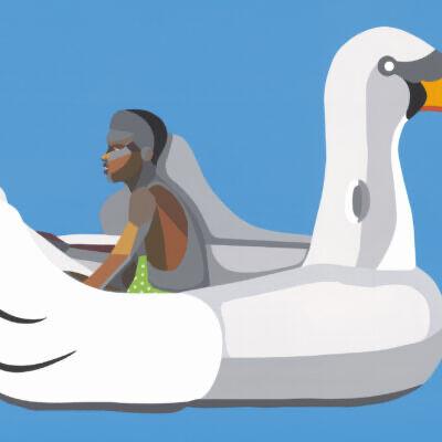 Derrick Adams, 'Boy on Swan Float', 2020