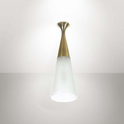 Max Ingrand, 'A pendant lamp with a brass structure and satinated glass shade', 1950 ca.