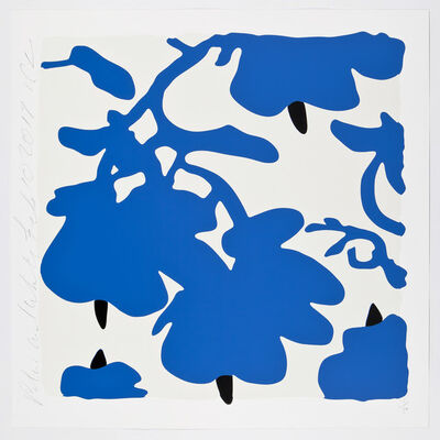 Donald Sultan, 'Lantern Flowers, Blue and White', 2017