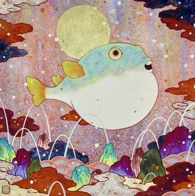 Koki Tsujimoto, 'Auspicious Blowfish painting: Fukuuki', 2019