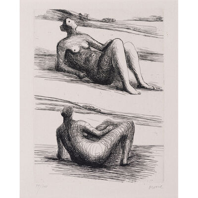 Henry Moore, 'Two reclining figures, issues du portefeuille d'Eddy Batache : Requiem pour la fin des temps', 1978