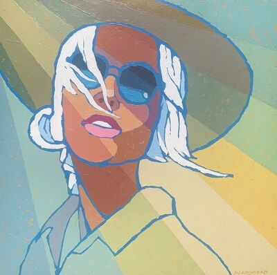 "Paul Norwood, '""Sunshine"" acrylic painting of a woman wearing a sunhat and sunglasses ', 2020"