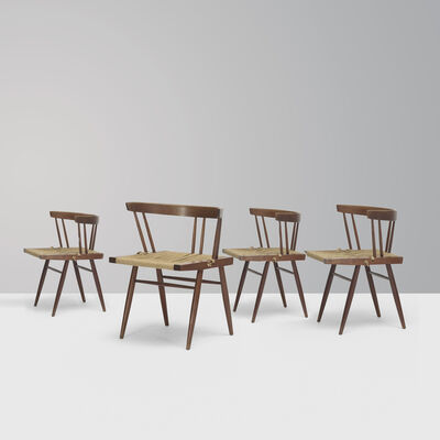 George Nakashima, 'Grass-seated Chair, set of 4'